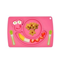 New Fashion Safety Silicone Material Baby Dinner Service Plates Snail and Car Children Fruit Plate
