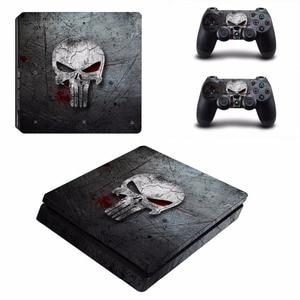 Image 5 - Punisher PS4 Slim cilt Sticker Sony PlayStation 4 konsolu ve 2 kontrolörleri için PS4 İnce Skins Sticker çıkartması