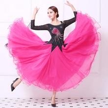 Pink Ballroom Competition Dance Dresses Women 2019 New Summer Lady Long Sleeve Standard Waltz