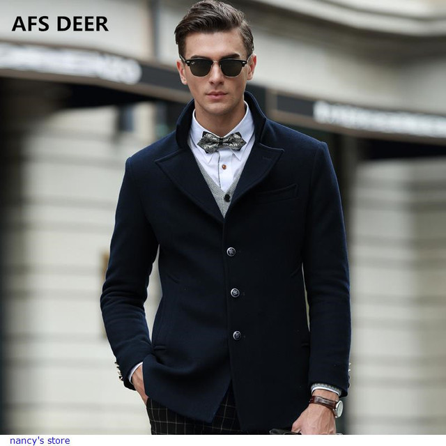 883cfcc694b4 New Brand winter Cashmere Coats men solid color Turn down Collar ...