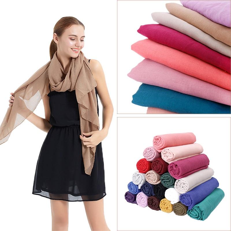 90*180 Trendy women muslim jersey hijab scarf Women Scarf Cotton Linen Scarves Wraps Female Head Scarf Hijab Stoles Unisex