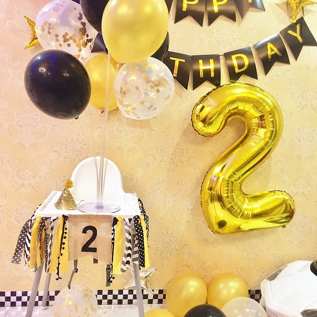 40 32 16 Inch Gold Silver Big Number 1 2 3 Year Happy Birthday Balloons Baby Boy Girl 1st Party Decor Supplies Foil Helium Globo