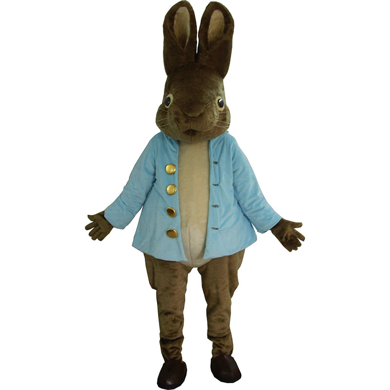 Funny Rabbit mascot costume Coffee Rabbit Blue Cloth Mascot Costume For Easter Caracteres Animals for Adult Fantasia Adulto