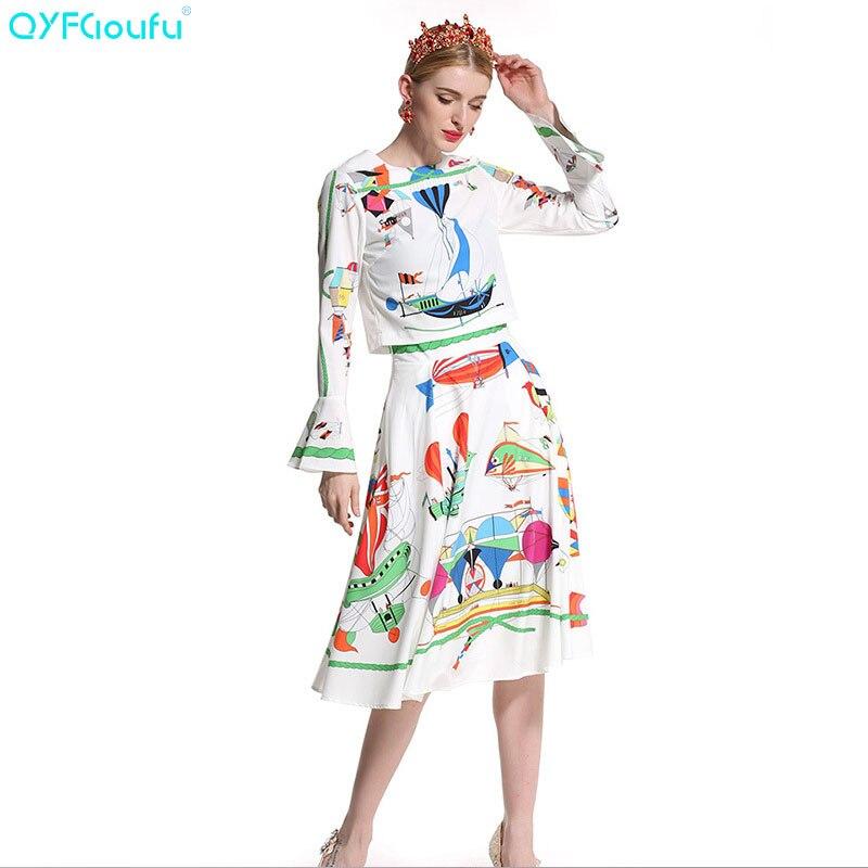 Здесь продается  QYFCIOUFU 2018 Summer 2 Piece Sets Womens Outfits High Quality Fashion Shirts Long Sleeve + Designer Runway Print White Skirt  Одежда и аксессуары