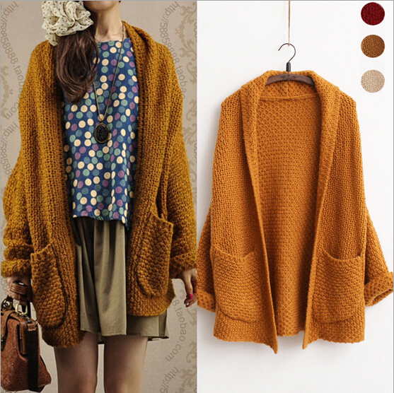 XSJPZH Korean Style Winter Large Size Women Long Knit Cardigan Art ...
