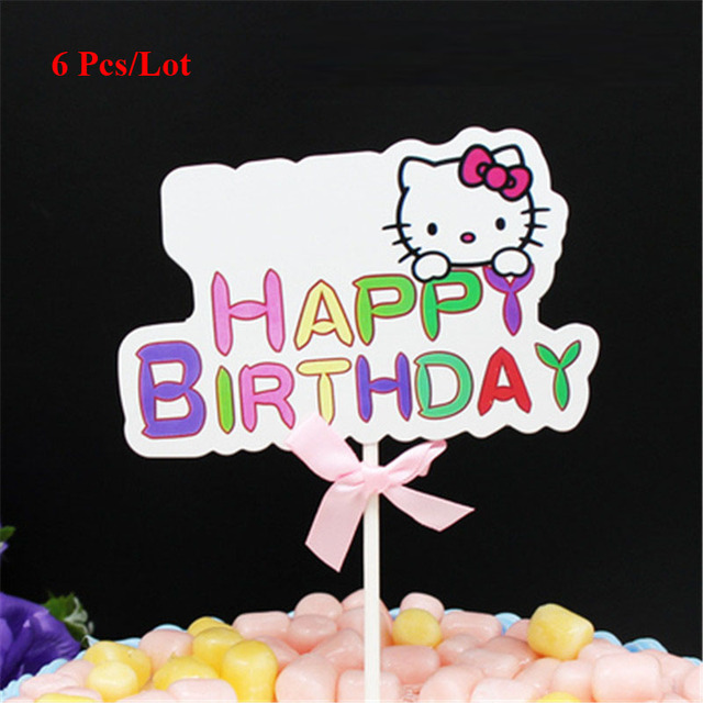 Topper Cake Birthday Party Supplies Flags 40th Decorations Cupcake Toppers Hello Kitty Happy