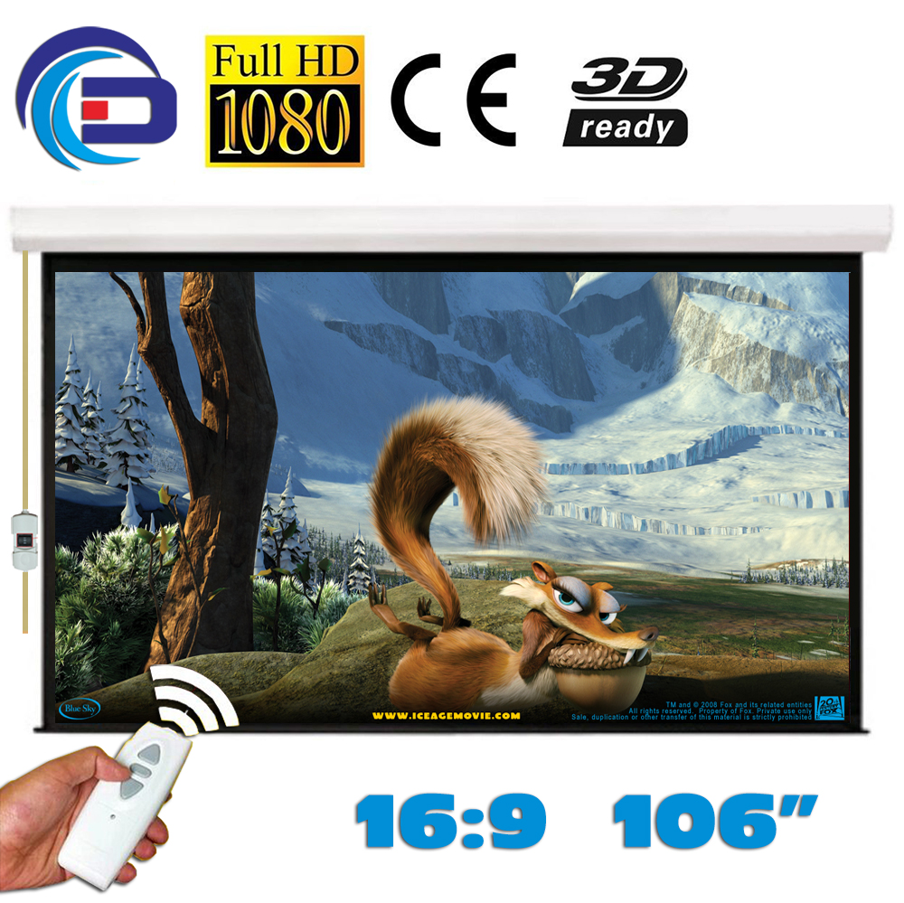 106 inch 16:9 Elektrische Projector Projectiescherm Pantalla Proyeccion WFFG voor LED LCD HD Movie Gemotoriseerde Projectiescherm-in Projectie Schermen van Consumentenelektronica op  Groep 1