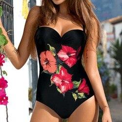 Сексуальный цельный купальник, закрытый, большой размер, принт, купальник для женщин, Цветочный, пуш-ап, купальник, боди, 2019, женский пляжный ... 1