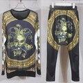 Новый 2017 женские костюмы бренда комплект одежды печати Золотой Клоун Harajuku толстовка хип-хоп брюки шаровары моды пот костюмы