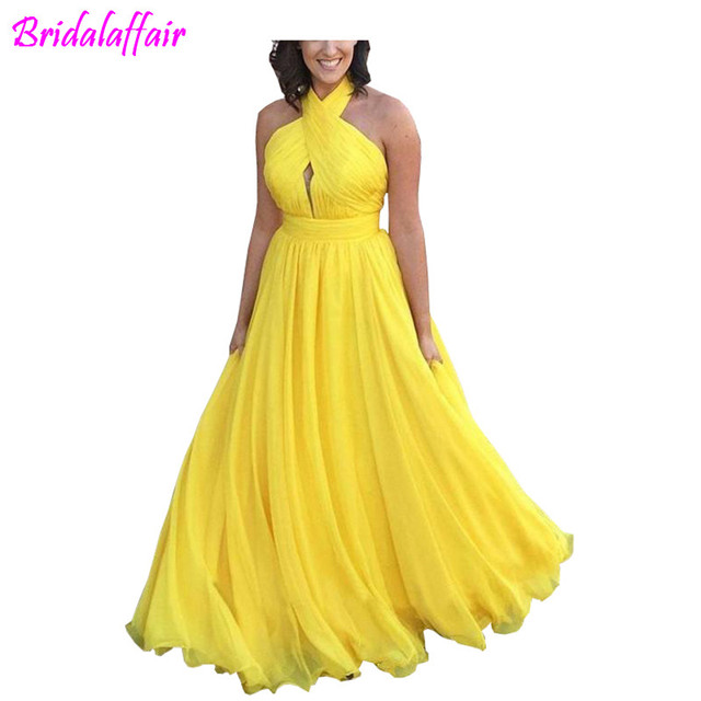 367a9e44f27e Cheap Yellow Prom Dresses 2019 Pleated Halter A Line Backless Chiffon  Evening Party Gowns Vestidos Festa Plus Size Formal Dress