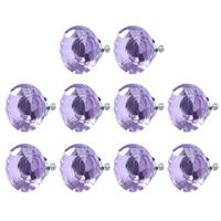 LHLL 10pcs Diamond Shape Crystal Glass Drawer Pull Handle Light Purple