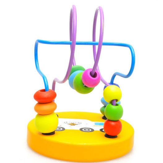 Montessori Educational Wooden Boys Girls Toys Circles Bead Wire Maze Roller Coaster Wood Puzzles Kid Toy P27