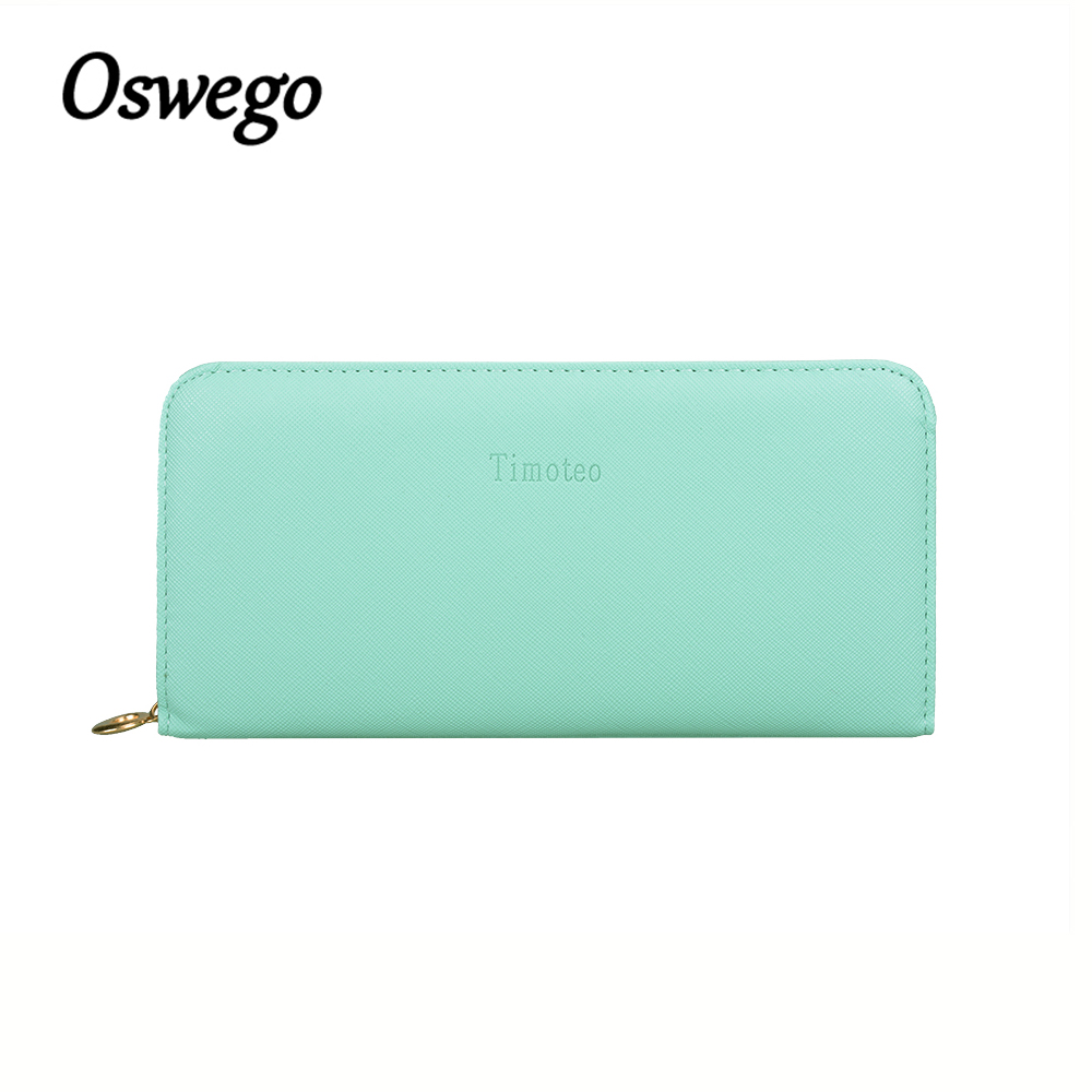 Oswego Pure Candy Color PU Leather Women Wallet Zipper Girl Long Purse Cards Holder Bags Phone Coins Clutches for Ladies