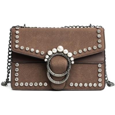 New Luxury brand bag women messenger bags Small Pearl cross body Retro Suede chains shoulder bags fashion handbag Travel Clutch