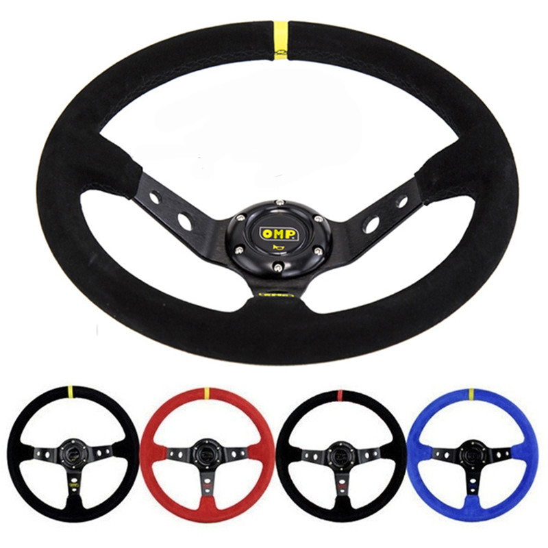 Unversal 14inch 350mm Deep Corn Drifting Racing Steering Wheel OMP Suede Leather Slip-Resistant Sport Steering Wheel Cover