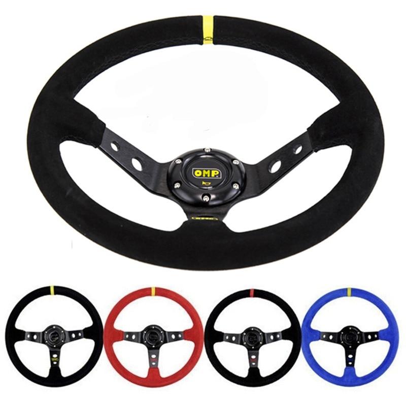 Unversal 14inch 350mm Deep Corn Drifting Racing Steering Wheel OMP Suede Leather Slip Resistant Sport Steering Wheel Cover