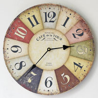 Hot Sale Round Vintage France Paris Colourful French Country Antique Style Paris Creative Wood Wall Clock