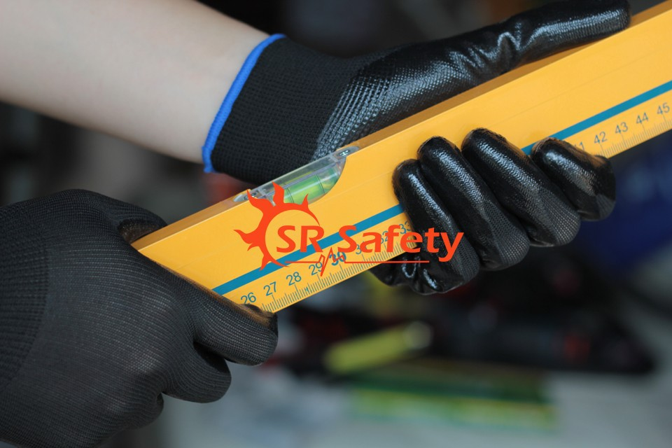 SRSAFETY 4 Pairs Coated Nitrile Dipped Gloves Handing Safety Working Gloves