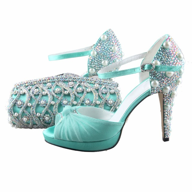 5295dd248a0fbf BS896 Custom Handmade Mint Green Rhinestones Shoes and Bag Matching Set Bridal  Wedding Shoes Two-Piece Big Size Women Shoes