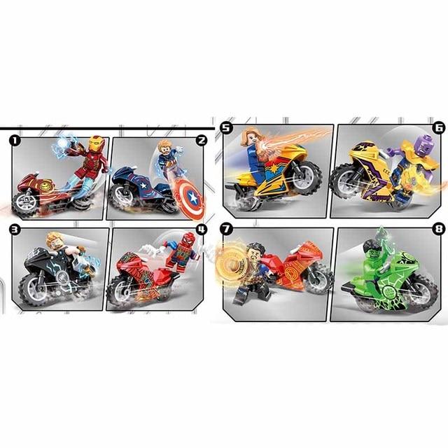 Endgame 8 Pcs Marvel Avengers Super Heroes Mini motocicleta Figuras de Ação Building Blocks Brinquedos Para crianças Presentes de Natal