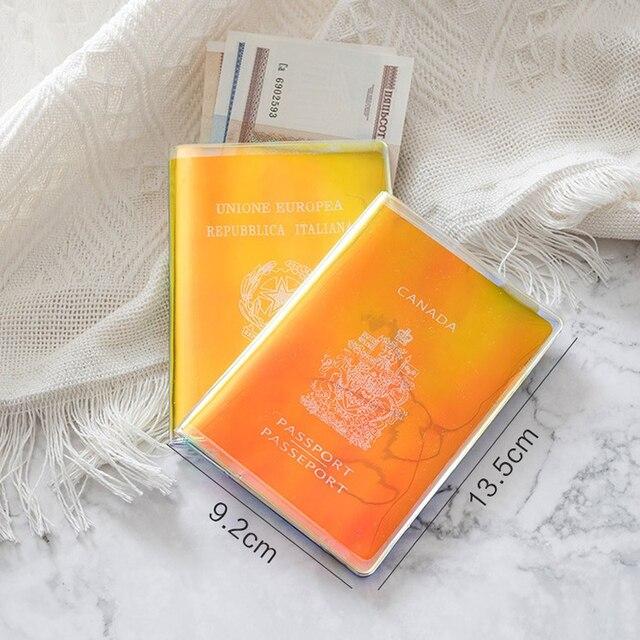 Fashion laser Paillette PVC Passport Holder Cover Women Storage Organizer Card Case Busines Credit Wallet Travel Accessories 1