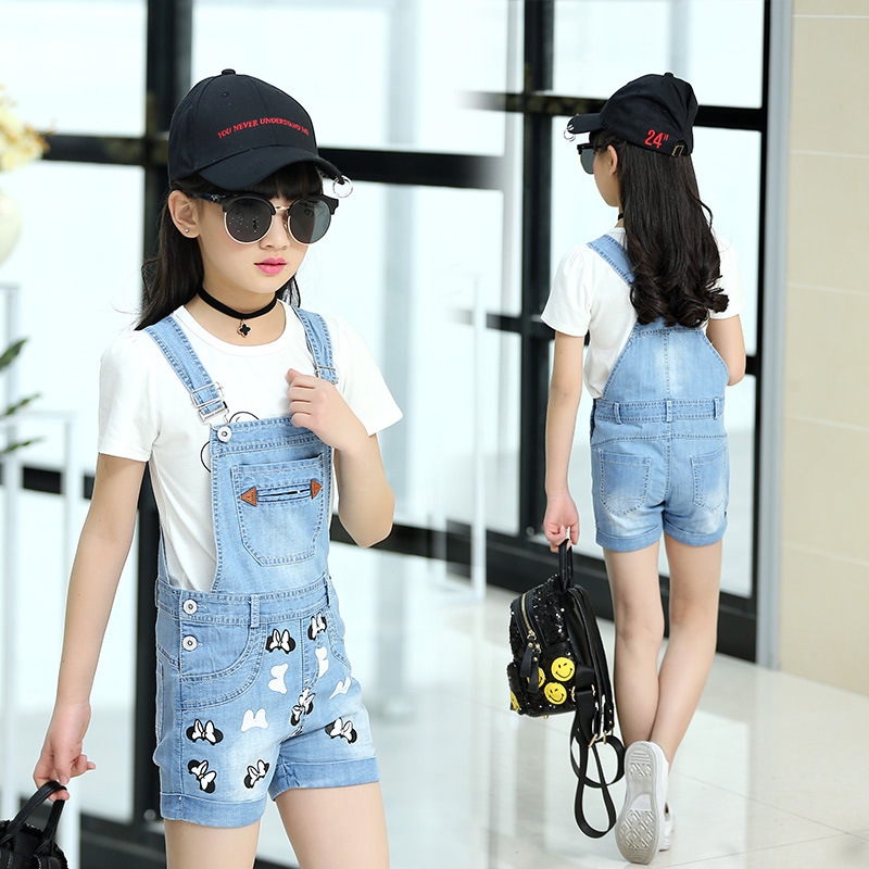 Girls Clothing Set 2PC(Overalls+T Shirt) Baby Sports Suits Kids Denim Strapped Jumpsuit With Bow Girls Denim Pants Jeans Clothes