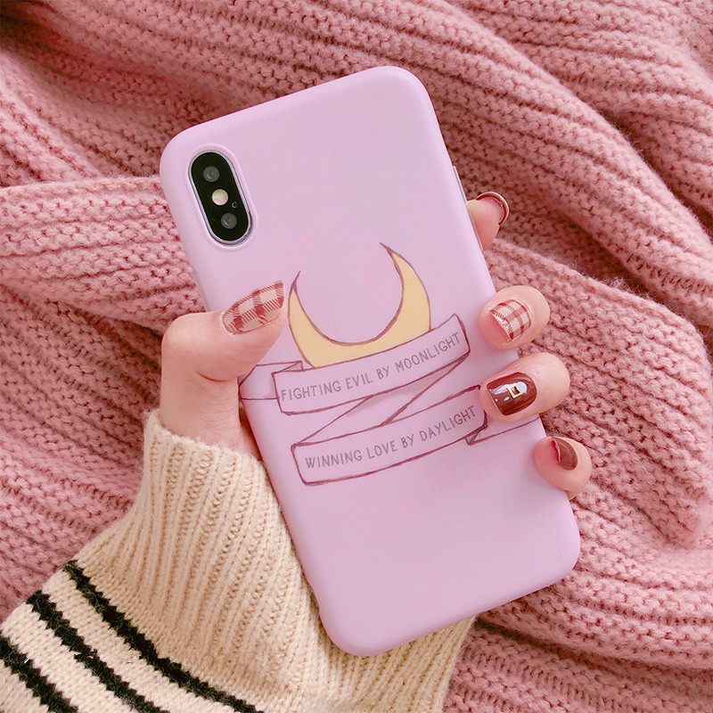Japan kawaii anime Sailor Moon pink <font><b>Phone</b></font> Case For iPhone <font><b>cover</b></font> X XS XR <font><b>bts</b></font> Cartoon case silicon For coque iphone 8 7 6 6s Puls image