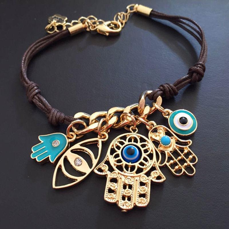 KUNIU Fashion Fatima's Hand Hamsa Bracelet Evil Eye Bracelet for Women Leather Pendant Knit Link For Women's Bracelet Arm Fatima