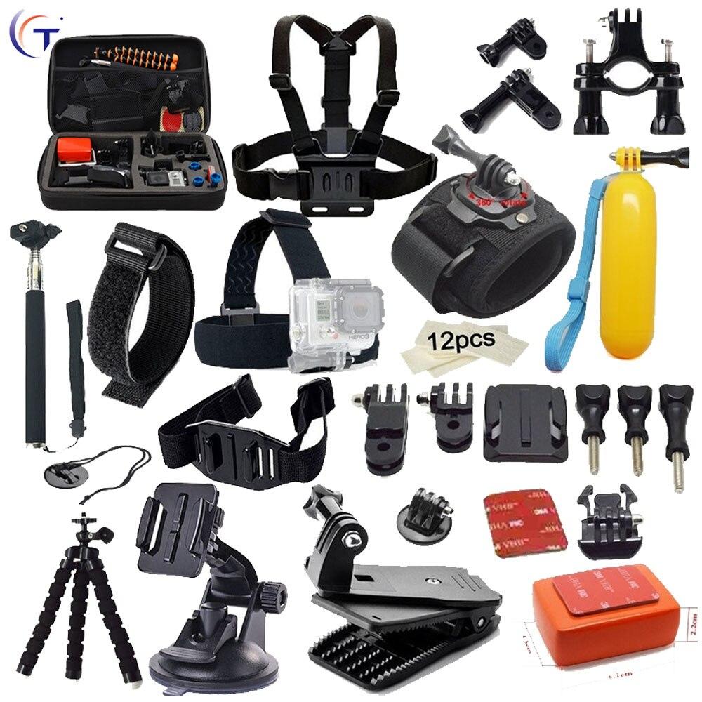 Gopro accessories Big Box Set kugelkopf Einbeinstativ Stativ For Go pro Hero 5 S 5 4 S 4 3 3 + xiaomi yi SJCAM SJ4000 Camera