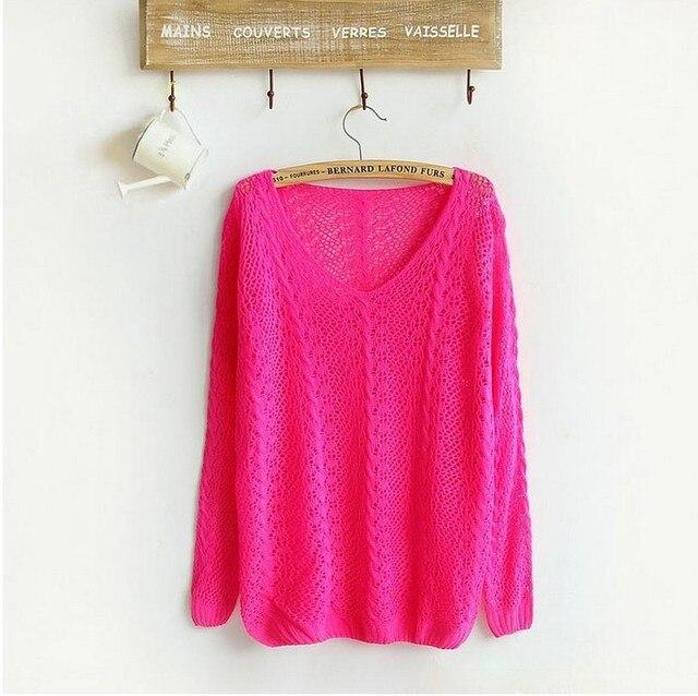 Mulheres sólidos pulôver : primavera outono escavar malha blusas de malha estilo de cor