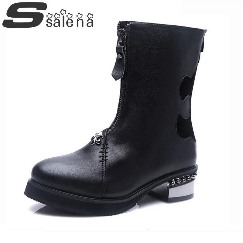 ФОТО Leather Women Boots Ankle Boots Metal Thick Heel Double Zippes Women  Motorcycle Boots Winter Women Shoes Size 35-39 #C402