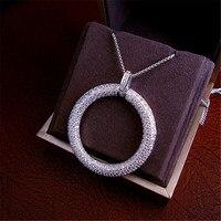 Hot sprzedaż Moda Luksusowe AAA cyrkonia micro pave ustawianie big okrągły hoop wisiorek naszyjnik, łańcuch sweter, P2567