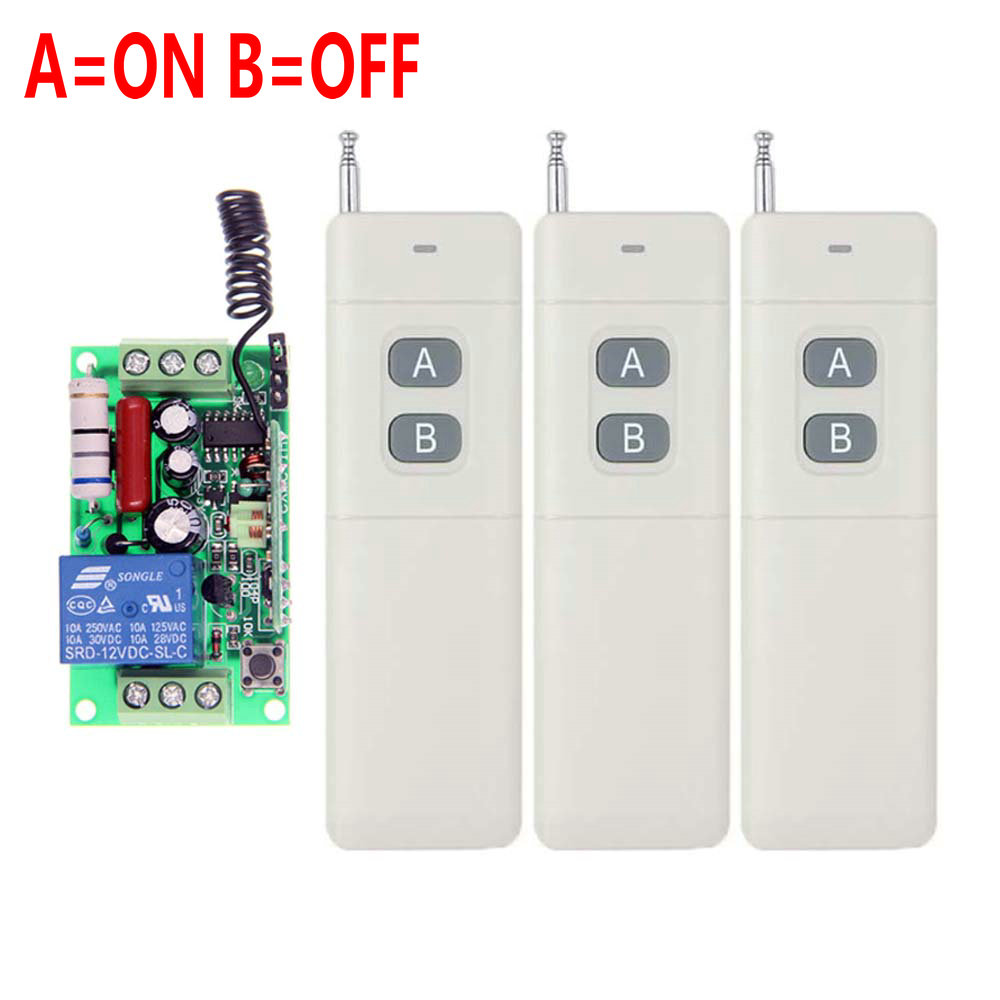 3000m AC 220V 110V 1 CH 1CH RF Wireless Remote Control Switch System,315/433.92 ,3X Transmitter+Receiver,Latched (A-ON,B-OFF) 2pcs receiver transmitters with 2 dual button remote control wireless remote control switch led light lamp remote on off system