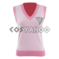 Akamatsu kaede Vest Danganronpa Cosplay Costume Women Cosplay Vest Sleeveless Pink Sweater Vest Anime Cosplay