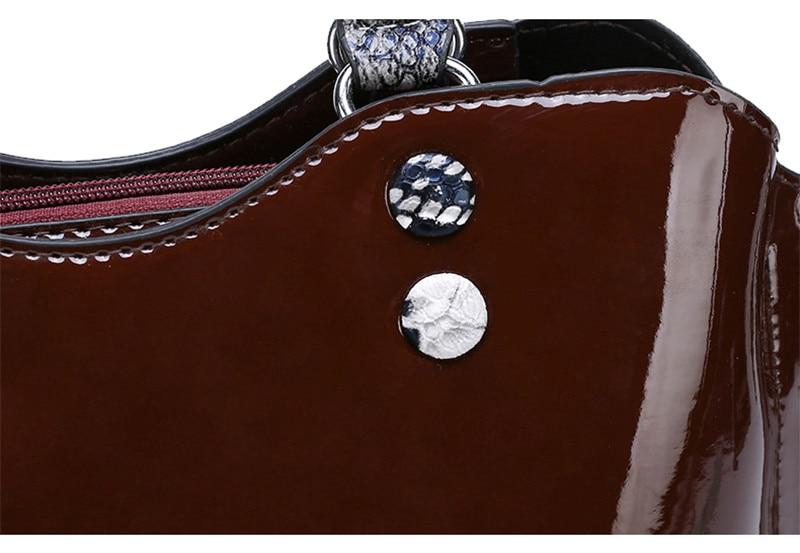Ensemble sac à main 3 pièces de luxe en cuir verni pour femmes fleur épaule Design fourre-tout décontractés Serpentine poignée pochette sac à main