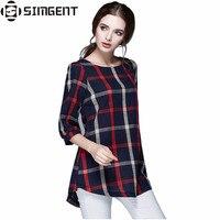 T Shirt Femme Autumn Cotton Linen Three Quarter Sleeve Casual Vintage Loose Plaid Women Tops&Tees Plus Size Oversized Shirts