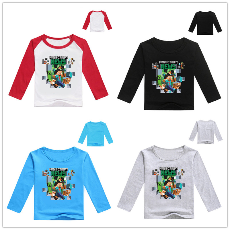 Video Game Long Sleeve Alex & Friends Boys and Girls tShirt 3-13y Kids Game Tee 2017 Autumn Cotton Tops Spring Adventure Clothes