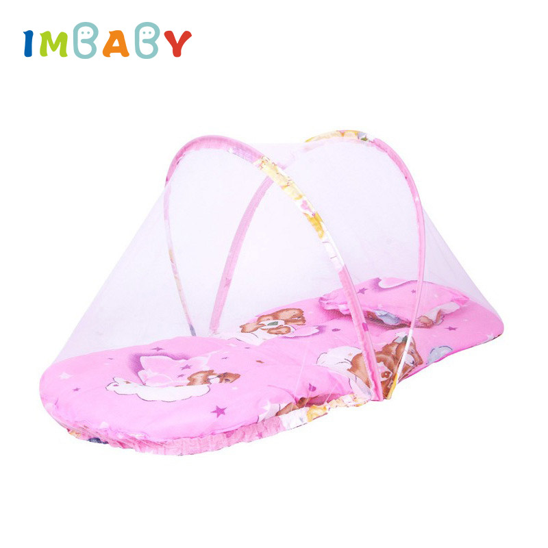 Portable Foldable Baby Crib Mosquito Net Tent Bassinet Infant Sleeping Basket with Toys for 0-24 Months Newborn Baby Baby Travel Bed