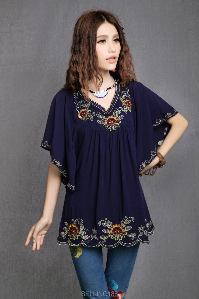 96b8f6926d936 One Size Women 2019 Fashion Short Sleeve Round Neck Embroidered ...