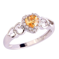 Hot sale! Romantic Heart Cut Morganite & White Sapphire 925 Silver Ring Size 6 7 8 9 10 11 12 Sweet Gift Jewelry Free Shipping