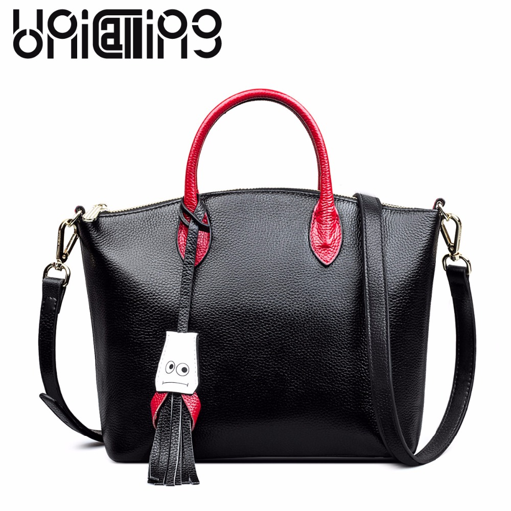 Fashion European and American Style genuine leather women bag contrast color women handbags smiling face tassel currents 2017 autumn european and american fashion women s handbags high end atmosphere banquet tote bag dhl speedy shipping
