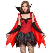 Women Red Black Sexy Vampire Costume Halloween Party Fantasia Vampire Dracula  Cosplay Fancy Dress(China f1c379072