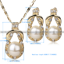 OAIITE Necklace Earrings Set Gold Plated New Jewelry Sets For Women Simulated Pearl Vintage Bridal Wedding Party Accessories