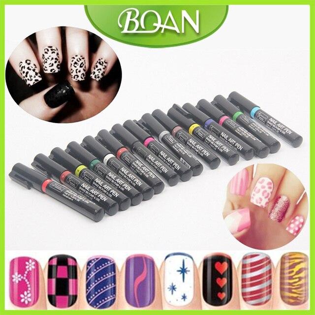 BQAN 16Pcs/Set UV Gel Nail Art Pen Painting New DIY Design 16 Color ...