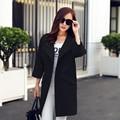 2016 Новые Моды для Женщин Весна Пальто Женщина О-Образным Вырезом Четверти Рукав Женщин Траншеи Пальто Женщин Длинное Пальто