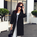 2016 New Fashion Women Spring Coat  Female O-Neck  Quarter Sleeve Women Trench Coat Women Long Coat