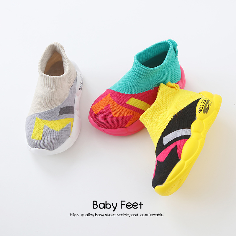 1-3yrs Children Socks Shoes Knitted Infant Baby Boys Girls Sneakers Shoes Net Breathable Leisure Sports Running Shoes For Girls