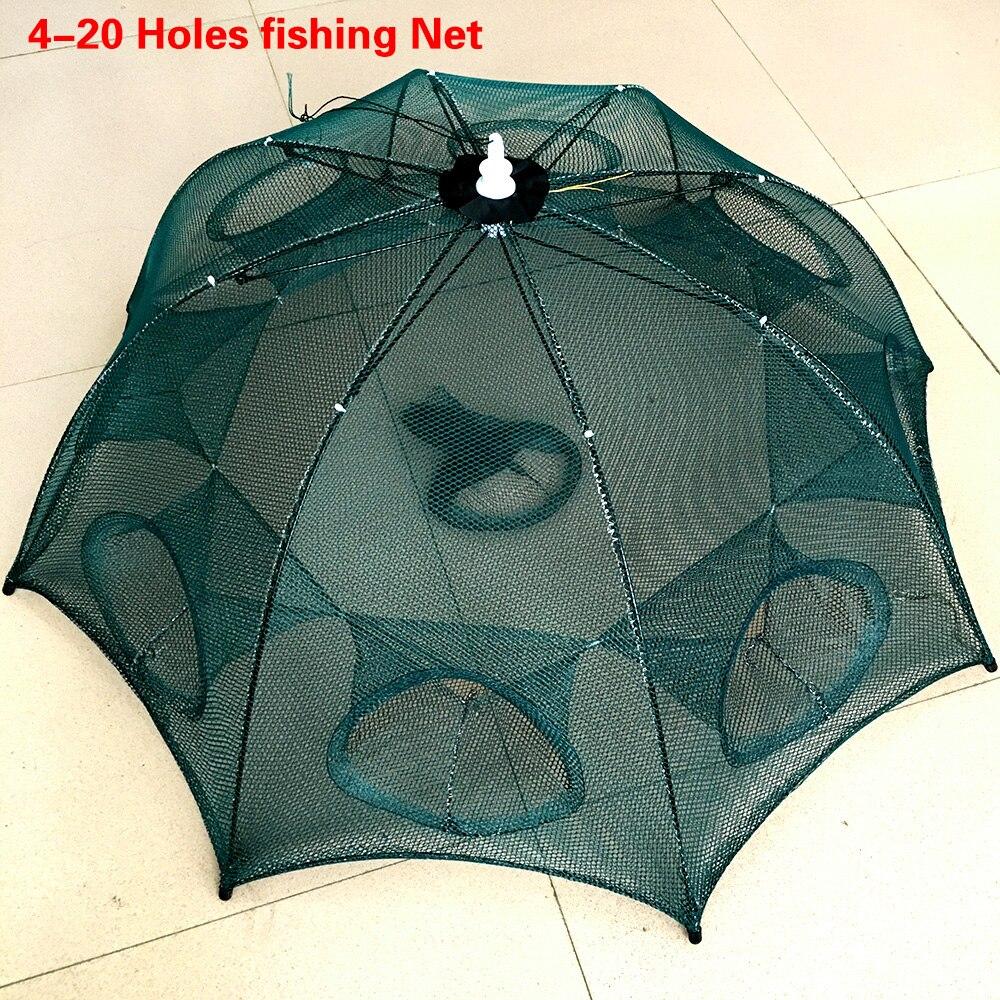 Gestärkt 4-20 Löcher Automatische Fischernetz Garnelen Käfig Nylon Faltbare Crab Fish Trap Cast Net Cast Klapp Angeln netzwerk