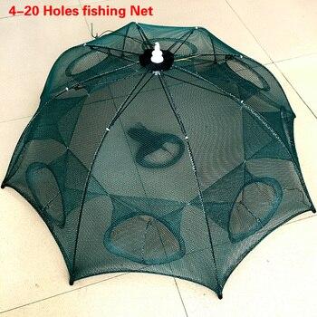 Reforzado 4-20 agujeros red de pesca automática jaula de camarón de nailon plegable trampa de peces de cangrejo fundido red de pesca plegable red