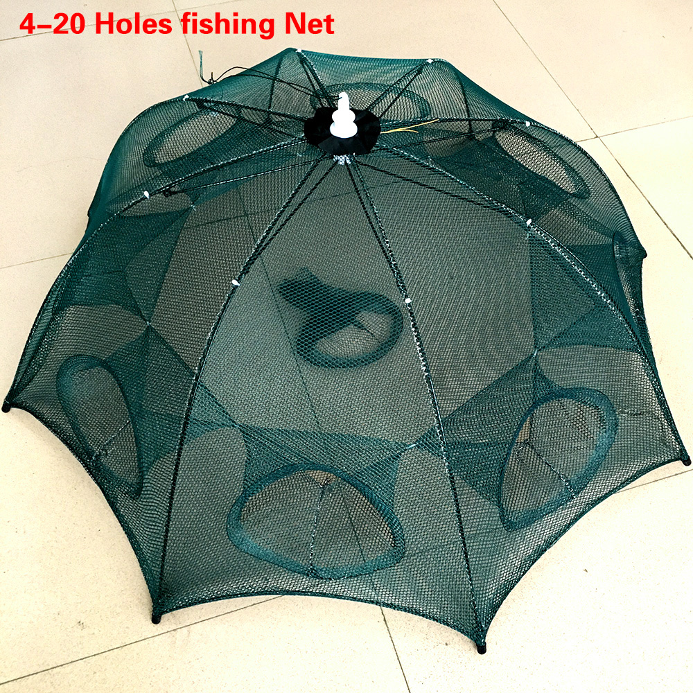 Strengthened 4-20 Holes Automatic Fishing Net Shrimp Cage Nylon Foldable Crab Fish Trap Cast Net Cast Folding Fishing Network portable foldable fishing trap cast net 8 import 70x30cm crab eel lobster